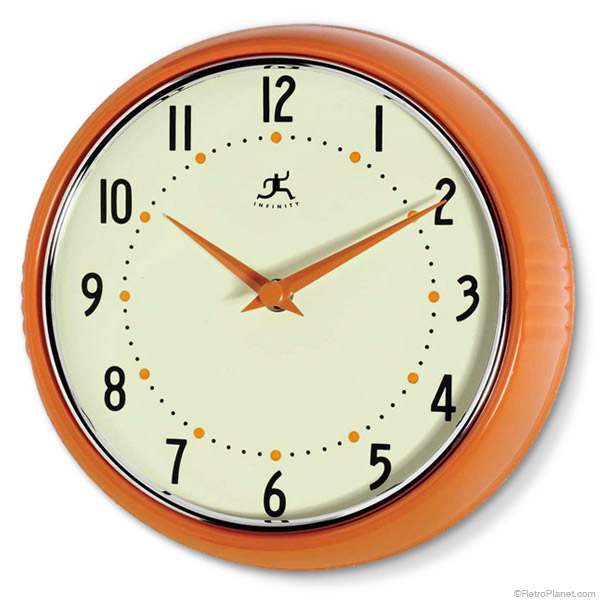 Orange '50s style kitchen wall clock