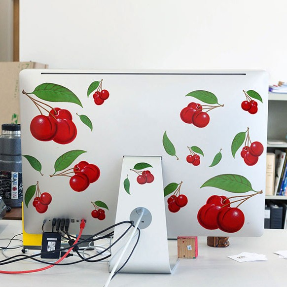 Cherries Decals on a Mac