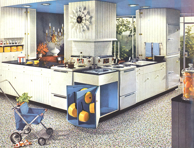Mid-century kitchen with a George Nelson Butterflies clock.