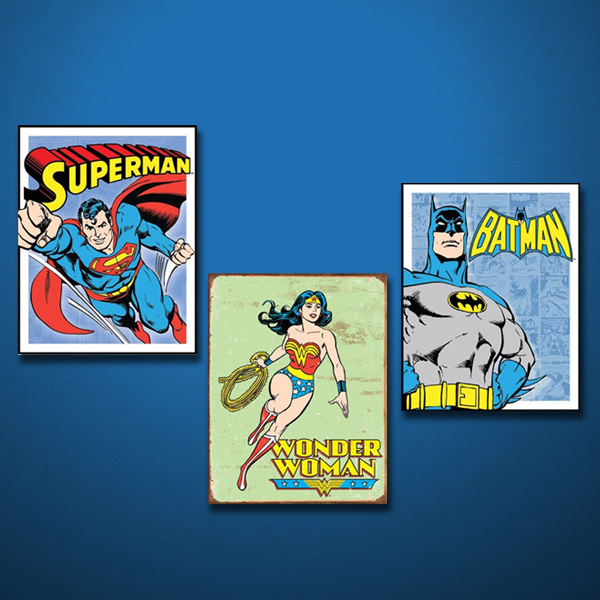 3 Superhero Sign Display on Blue