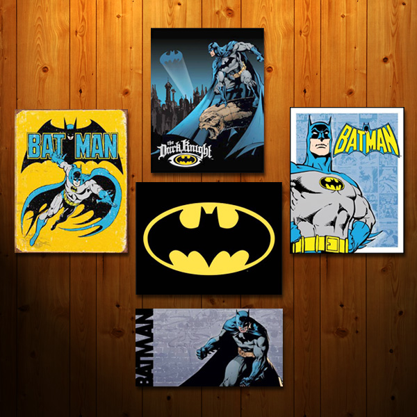 Collage of Batman signs against wood