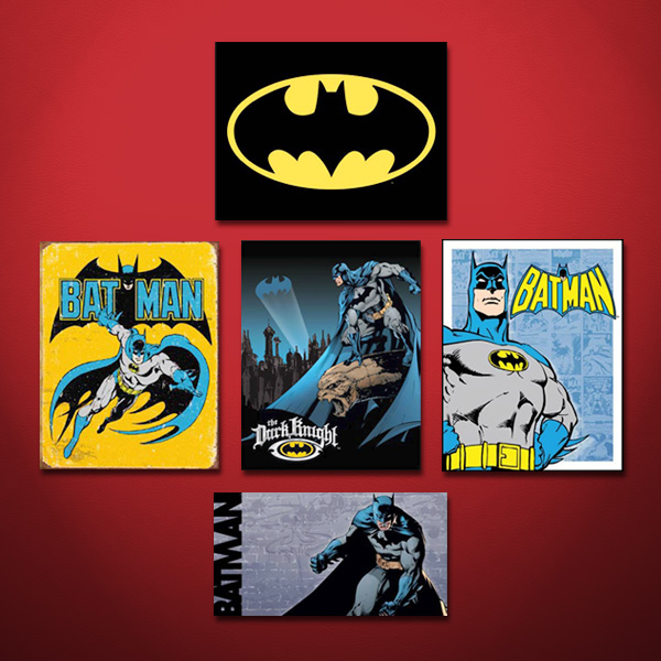 Batman signs against red background
