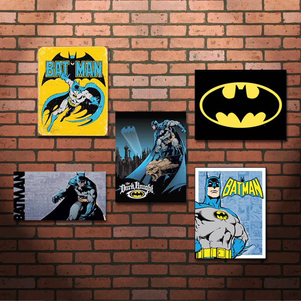 Batman signage against faux brick paneling