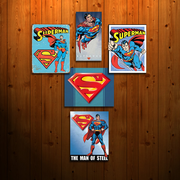 DC Superman Signs on Wood