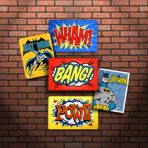 Retro Batman Sign Set on Brick