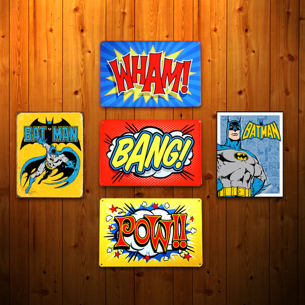 Retro Batman Sign Set on Wood