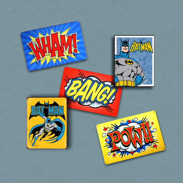 Retro Batman Sign Set on blue