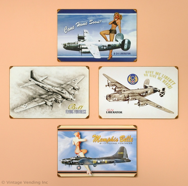 WW II Bomber Plane Metal Signs