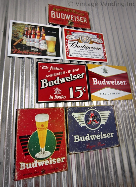 Budweiser Beer Signs on Galvanized Metal