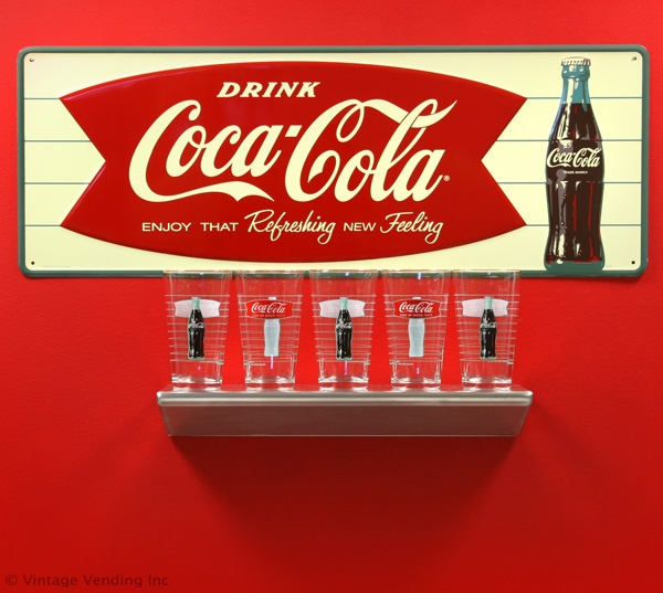Coca-Cola Fishtail Sign and Drinking Glasses