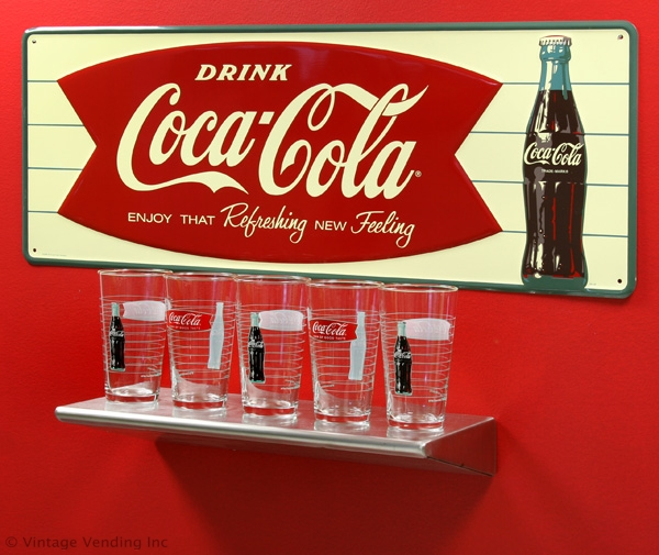Coca-Cola Fishtail and Bottle Logo Glasses
