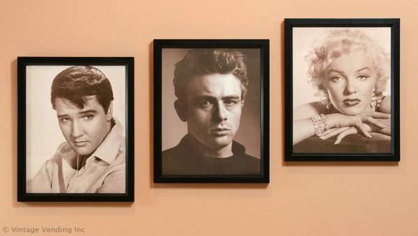 Elvis, James Dean & Marilyn print display