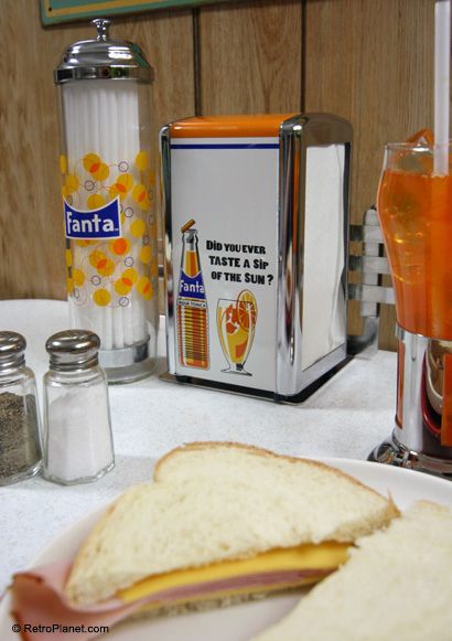 Fanta Soda and a Ham Sandwich