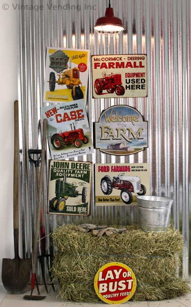 Barn Or Garage With A Collection Of Vintage Looking Tractor Metal Signs Create Bold Statement Group Similarly Themed Placed Slightly