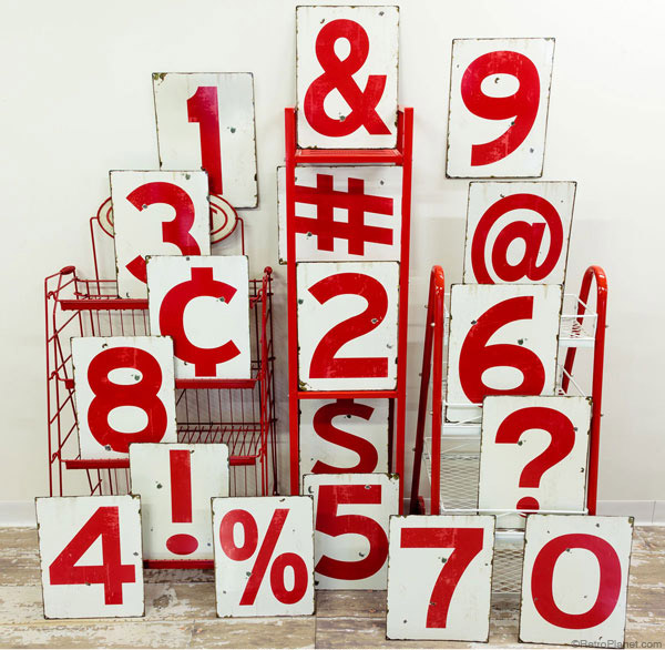 Numbers and Typography Signs