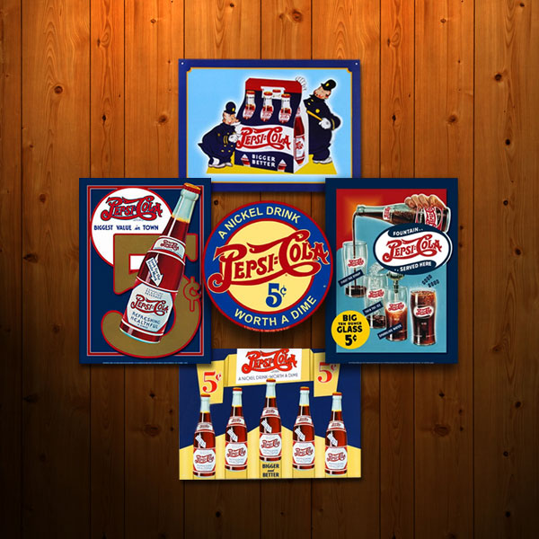 Pepsi-Cola Sign Collage on Wood Paneling