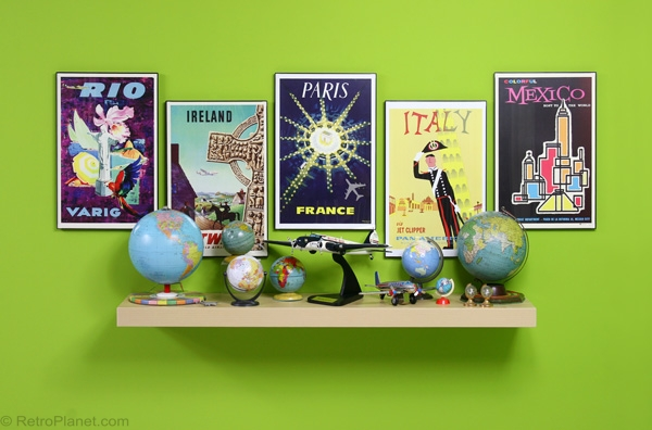 Retro Travel Posters Display