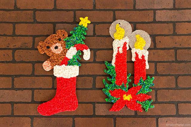 glitter plaques by kage - 1980s Christmas Decorations