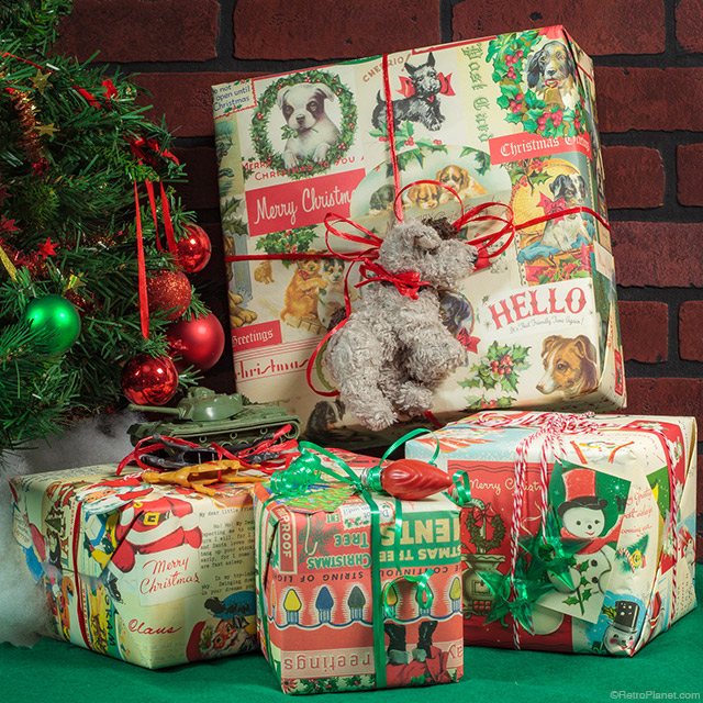 Vintage Style Christmas Gift Wraps, Cards and Gift Tags