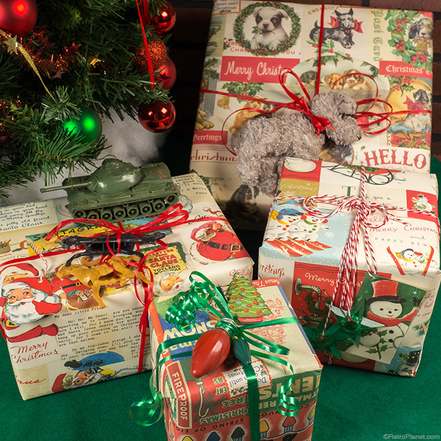 wrapped christmas packages - Vintage Christmas Gifts