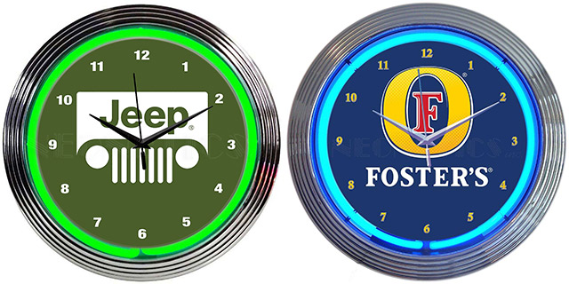 Jeep and Fosters Neon Clocks