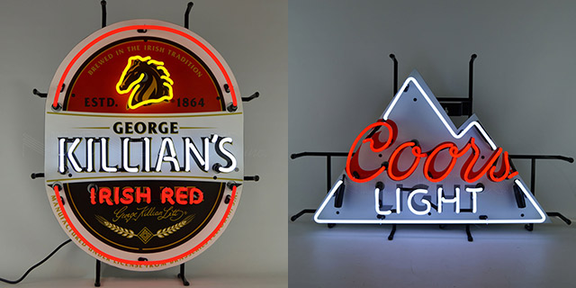 Killians and Coors Neon Signs