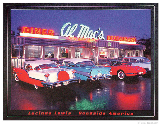 The Lucinda Lewis Roadside America Sign Features Al Mac S Diner And Restaurant In Fall River Ma Vintage Cars Fill The Parking Lot Decorating In 50s