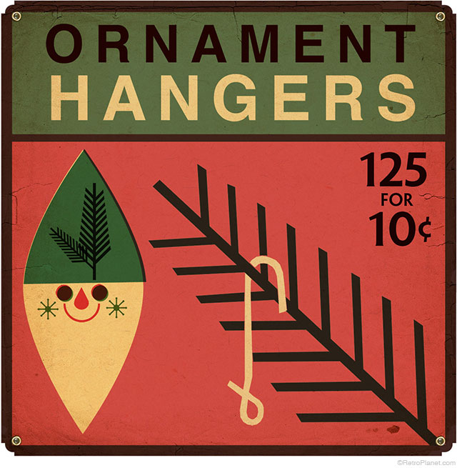 Ornament Hanger Box Metal Sign