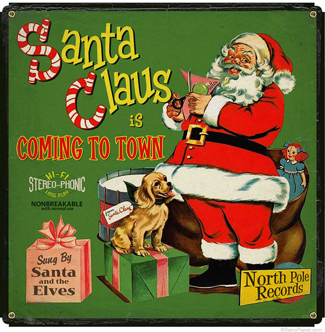 Vintage Christmas Record Sign