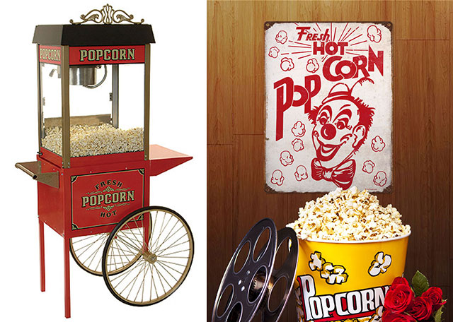 Popcorn Machine and Sign