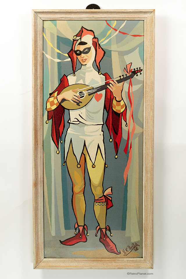 Harlequin Man Playing Lute Painting