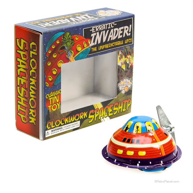 Erratic Invader UFO Tin Toy