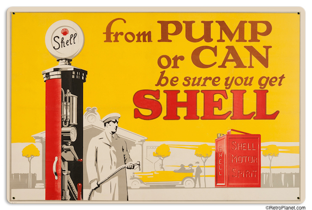 Vintage Style Shell Gas and Oil Advertising Signs