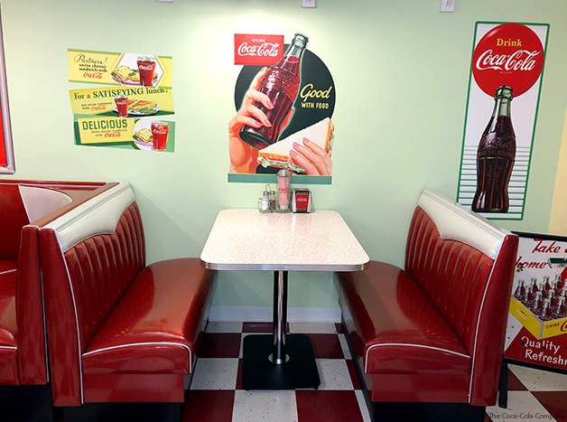 1950s Diner Style Lunch Room With Coke Decals