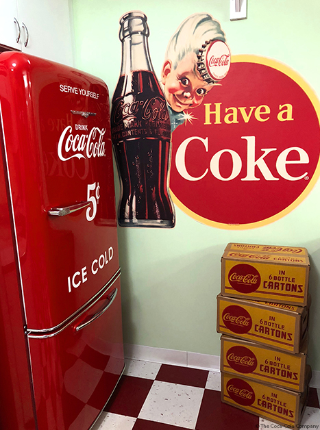 Coca-Cola Kitchen with Vintage Items, Stickers and Decals